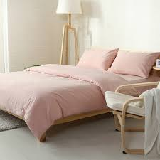 japanese style solid color bedding set 100 washed cotton twin