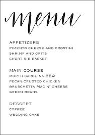 wedding menu template wedding reception menu 5x7 wedding menu template calligraphy