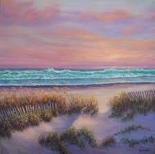 sunrise coastal painting with beach sand dunes amber palomares