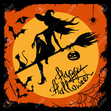 halloween illustration with beautiful witch silhouette flying