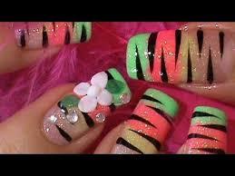 rainbow animal print acrylic flower nail design youtube