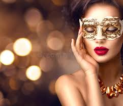 mask party beauty model woman wearing venetian masquerade carnival mask at
