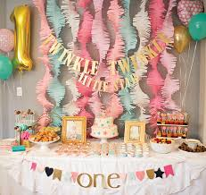 baby girl 1st birthday themes pink and gold twinkle 1st birthday party project nursery