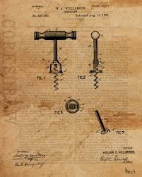 vintage patent drawing of corkscrew canvas print large canvas