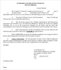 9 sample construction contract templates free sample example