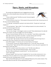 tigers sharks and mosquitoes reading comprehension worksheet