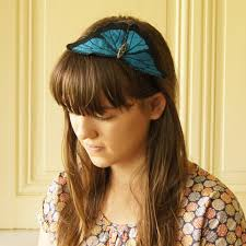 silk headband headband blue morpho butterfly silk botanical hairband blue