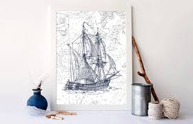 Nautical Nursery Wall Decor by Vintage Ship Print Nautical Nursery Decor Nautical Art