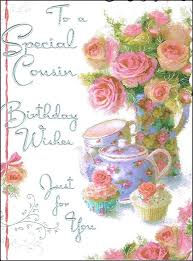cousin birthday card jonny javelin cousin birthday card pink roses teapot cupcakes