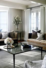 Gray And Brown Living Room Features A Pair Of Brown Velvet Sofas - Grey and brown living room decor ideas