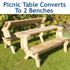 how to make a wood picnic table that converts to two benches