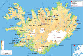 iceland map physical map of iceland ezilon maps