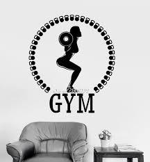 sport de chambre femme fitness vinyle mur declas haltère bodybuilding