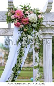 wedding arch lace beautiful wedding arch chairs marriage decorated stock photo