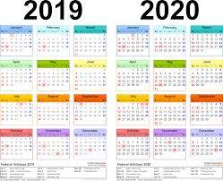 2019 2020 calendar free printable two year excel calendars