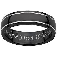 promise ring for men personalized men s engraved black titanium grooved band walmart