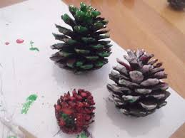 christmas holiday preschool crafts painting pine cone trees dma