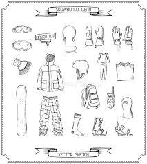 pencil sketch of snowboard gear stock vector image 47719401
