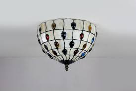 Glass Ceiling Fixture by Round Stained Glass Peacock Tiffany Flush Mount Parrotuncle
