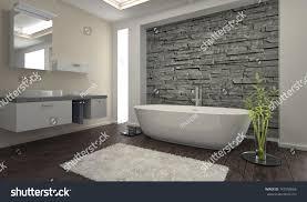 modern bathroom interior stone wall stock photo 143503666