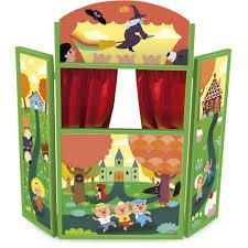 jeux en bois pour enfants théâtre de marionnettes en triptyque pour enfant multicolore
