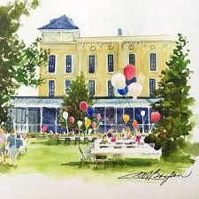 ice cream social and strawberry festival lakeside oh painting by