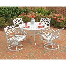 Wrought Iron Swivel Patio Chairs Home Styles Biscayne 48 In White 5 Piece Round Swivel Patio