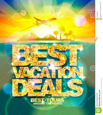 best vacation deals poster advertising design mock up with golden