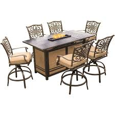 Outdoor Table With Firepit by Traditions 7 Piece High Dining Bar Set In Tan With 30 000 Btu Fire
