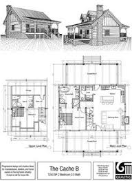 small cabin home plan with open living floor plan cabin design