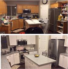 painting oak kitchen cabinets before and after with white colors