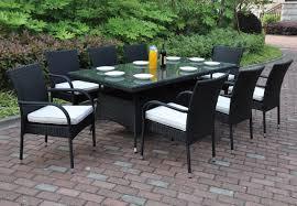 Glass Patio Table Set Poundex P50272 Outdoor 9 Pcs Glass Patio Table Set