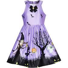 girls dress halloween witch bat pumpkin costume purple dress