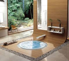 japanese bathroom design small space stone bathtun on green grass