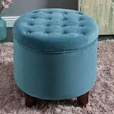 homepop large round button tufted velvet storage blue ottoman 18 x