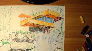 Frank Lloyd Wright Falling Water Interior Intro Architectural Ideas Sketches 1 Frank Lloyd Wright Falling
