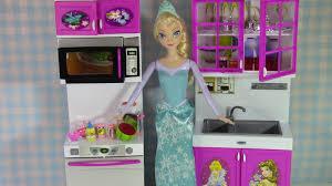 Princess Design Kitchens Disney Princess Doll Kitchen Frozen Elsa Organizes Kitchen