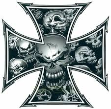 grey skull ironcross color decal skull and crossbones decals