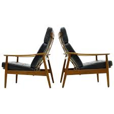 Teak Table And Chairs Danish Reclining Lounge Chairs Teak And Leather By Arne Vodder