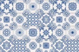 Tile Wallpaper White And Blue Portuguese Tiled Wallpaper Murals Wallpaper