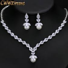 costume jewelry pearl necklace images Buy cwwzircons gorgeous cubic zirconia bridal jpg