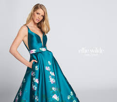 Formal Dresses With Pockets V Neck Floral Print Prom Dress With Pockets Ellie Wilde Ew21745