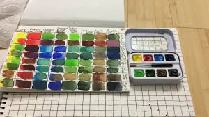 making a watercolor color mixing chart and completed color mixing