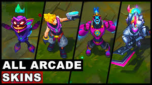 all arcade skins new and old brand ziggs malzahar ahri riven