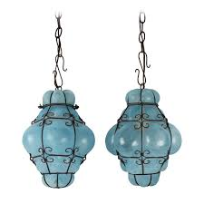 Cage Pendant Light Vintage Seguso Murano Blue Glass Cage Pendant Lights At 1stdibs