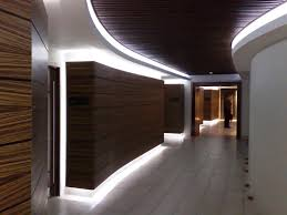 led lighting in hallway with wood paneling led ideas material
