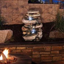 pure garden stone waterfall outdoor fountain with led lights ebay