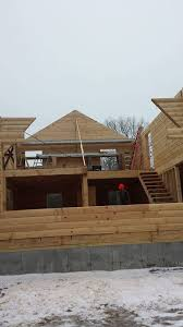 Two Story Log Homes by Solid Log Gables Log Home Under Construction