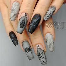 marble spider web halloween nails by misashton from nail art