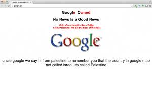 israel google hackers deface google palestine demand israel removed from maps